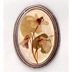 OVAL ART DECO BROOCH NATURAL VINTAGE FLOWER