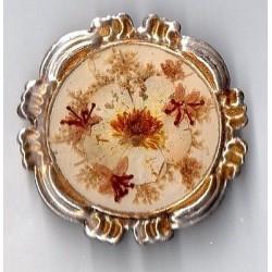 ROUND BROOCH ART DECO NATURAL FLOWER BOUQUET