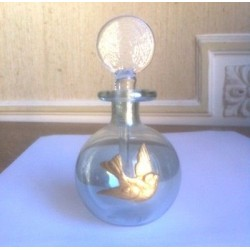 PERFUME FLASK BLOWN GLASS POWDER GOLD PIGEON BALL SHAPE