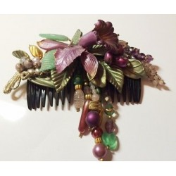 LARGE MAUVE COMB ORCHID AND LEAF DECORATION - CRYSTAL AND GLASS PULP