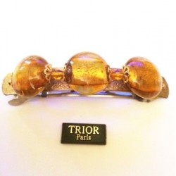 SINGLE PIECE BARRETTE WITH 3 TOPAZ CRYSTAL BEADS 8 CM LENGTH