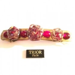 SINGLE PIECE BARRETTE WITH 3 RED CRYSTAL BEADS AVENTURINE LENGTH 8 CM