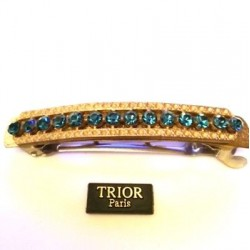 SINGLE PIECE BARRETTE WITH 14 STRASS SAPPHIRE BEADS 8 CM LENGTH