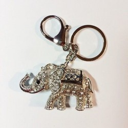 PORTE CLES - ATTACHE SAC DECOR ELEPHANT TOUT STRASS ARGENTE