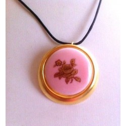 LIMOGES PORCELAIN MEDALLION DECOR LA ROSE COLOR PINK AND GOLD