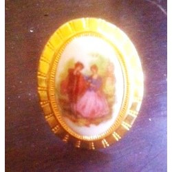 BAGUE EN PORCELAINE REGLABLE DORE - DECOR FRAGONARD