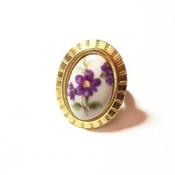 BAGUE EN PORCELAINE REGLABLE DORE - DECOR FLEUR