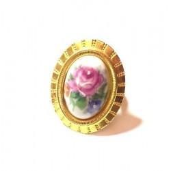 ADJUSTABLE GOLD PORCELAIN RING - ROSE DECOR
