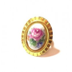 BAGUE EN PORCELAINE REGLABLE DORE - DECOR ROSE