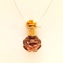 MINIATURE ROSE AMBER PERFUME PENDANT DECORATED STOPPER GIFT LOVE