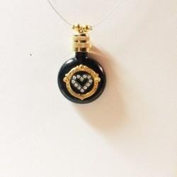 MINIATURE PERFUME PENDANT COLLECTION SHAPE BLACK WATCH HEART STRASS GOLD