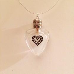 MINIATURE PERFUME PENDANT SHAPE HEART STRASS GIFT IDEA LOVE
