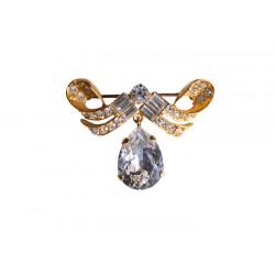 Brooch with Swarovski crystal rhinestones and Swarovski crystal pendant drop - Pins - Brooches - Wedding Accessories