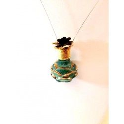 MINIATURE PENDANT COLLECTION PERFUME FORM ROSE GREEN GOLD MESH GIFT IDEA