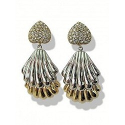 EARRING STRASS GOLD / SILVER SHELL CLIPS