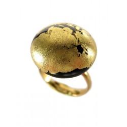24k gold black crystal cabochon ring
