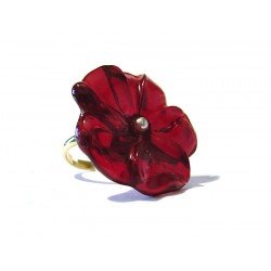 France crystal red flower ring