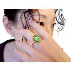 24k gold green Murano glass round ring