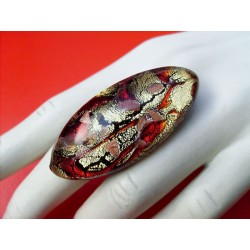 GRANDE BAGUE OVALE MURANO ROUGE OR