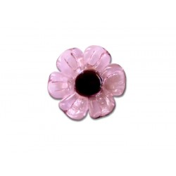Round crystal of France ring with pink daisy