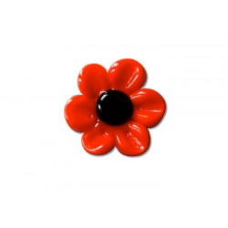 Round crystal de France ring with red daisy