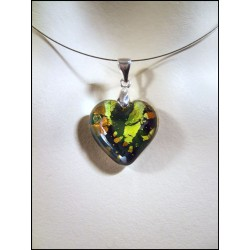 LITTLE OLIVINE HEART CRYSTAL NECKLACE AND SILVER LEAF TOPAZ