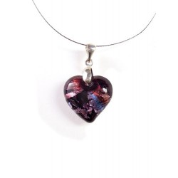 LITTLE AMETHYST HEART CRYSTAL NECKLACE SILVER LEAF