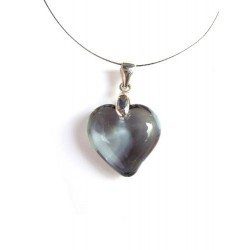 CRYSTAL NECKLACE SMALL HEART COLOR GRAY