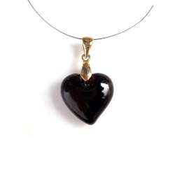 LITTLE HEART CRYSTAL NECKLACE BLACK COLOR