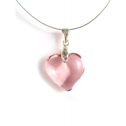 PINK COLORED SMALL HEART CRYSTAL NECKLACE