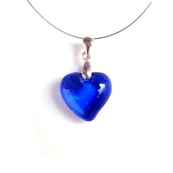 LITTLE HEART CRYSTAL NECKLACE DARK SAPPHIRE COLOR