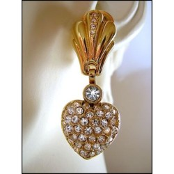 STRASS HEART COUTURE EARRING