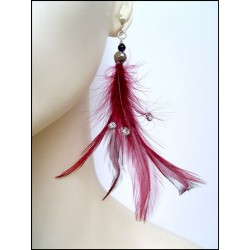 GARNET FEATHER EARRINGS WITH RHINESTONES CLIPS OR PIERCED EARS TO BE SPECIFIED