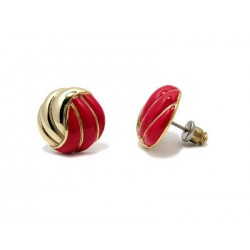 CLOU EARRING - RED AND GOLD ENAMEL