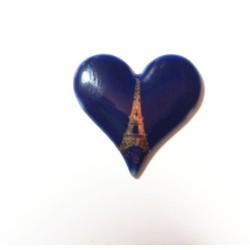 1 LIMOGES BLUE OVEN HEART PORCELAIN 24/24 TOUR EIFFEL OR 24K