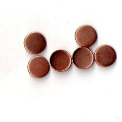 10 ROUND COPPER CUPS OUTSIDE DIAMETER 9 MM