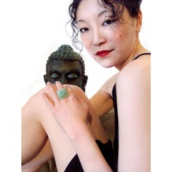 Green Shibuya ring in natural Jade stone