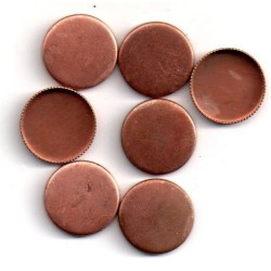 10 ROUND COPPER CUPS OUTSIDE DIAMETER 15 MM