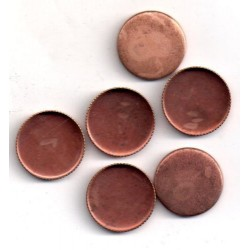 10 ROUND COPPER CUPS OUTSIDE DIAMETER 17 MM