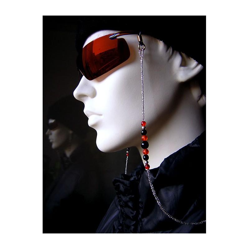 Chaîne de lunettes avec des perles en verre et rocailles