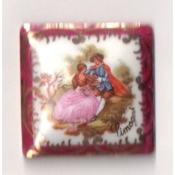 1PLAQUE PORCELAINE CARRE 33/33 POURPRE - FRAGONARD
