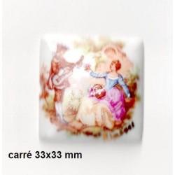 1 SQUARE PORCELAIN PLATE 33/33 FRAGONARD WHITE