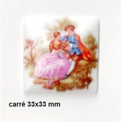 1 PLAQUE PORCELAINE CARRE 33/33 FRAGONARD BLANC