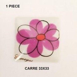 1 PLAQUE PORCELAINE CARRE 33/33 DECOR FLEUR STYLISE