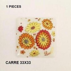 1 PLAQUE PORCELAINE CARRE 33/33 DECOR FLEUR
