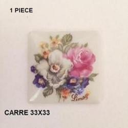 1 PLAQUE PORCELAINE CARRE 33/33 DECOR BOUQUET