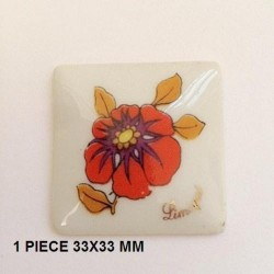 1 PLAQUE PORCELAINE CARRE 33/33 DECOR COQUELICOT