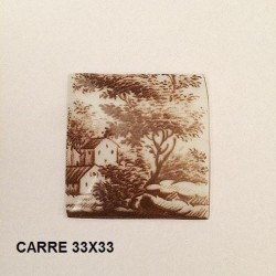 1 PLAQUE PORCELAINE CARRE 33/33 DECOR PAYSAGE SEPIA
