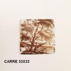 1 SQUARE PORCELAIN PLATE 33/33 SEPIA LANDSCAPE DECORATION