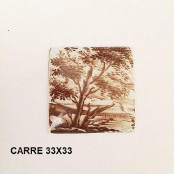 1 PLAQUE PORCELAINE CARRE 33/33 VERT TURQUOISE - FRAGONARD